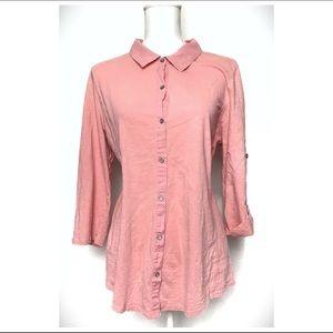 J. Jill Cotton Button Blouse Top size Large